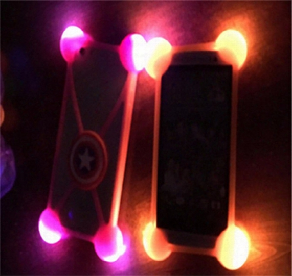 """Universal 3d Cartoon Silicone Case Led Light Up Bumper Luminous Soft Cases For Iphone 7 Plus Samsung Lg 3.5""""-5.5"""" Phone"""