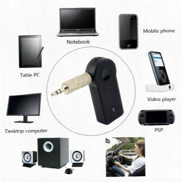 V3.0 Edr 3.5mm Bluetooth Music Audio Stereo Adapter Receiver For Car Aux In Home Speaker Mp3