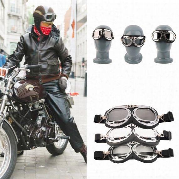 Vintage Motorcycle Carting Goggles Glasses Mirror Pilot Biker Helmet Sunglasses Scooter Cruiser Glasses Off-road Motocross Racing Eyewear