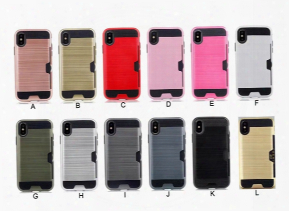 Wire Drawing Card Pc+tpu Mobile Phone Case Cover For Iphone X 8 6 6s 7 Plus Samsung S6 S7 S8 Plus A3 A5 A7 J5 J7 Card Armor Phone Case