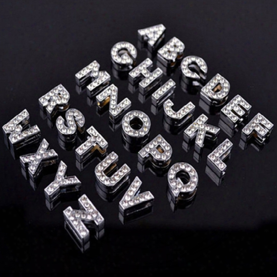 10mm Zinc Alloy Silvery Color A-z Full Diamond Letters Charming Diy Dog Tag Id Card Fit Pet Collar Necklace&bracelets Phone Charms Mix Order