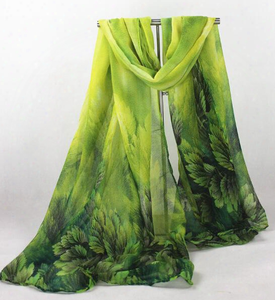 10pcs Long Leaves Leaf Printed Scarves Ladies Stoles Warm Shawls