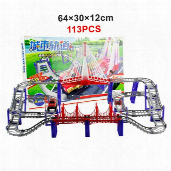 113pcs Triple-loop Interchangeable Tracks Rail Car Set Diy Baby Toy Model Electronic Rope Bridge Multilayer Kids Toys