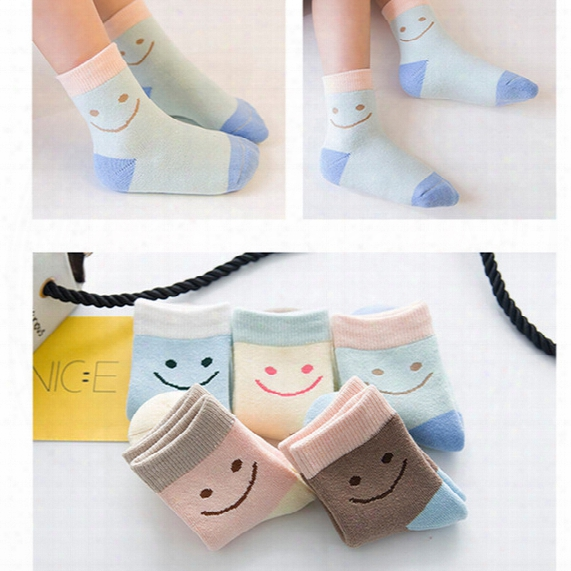 15pair/lot New Winter Thickening Knee High Socks Kids Children Socks Candy Color Cartoon Lovely Smile Printed Cotton Warmer Socks Wholesale