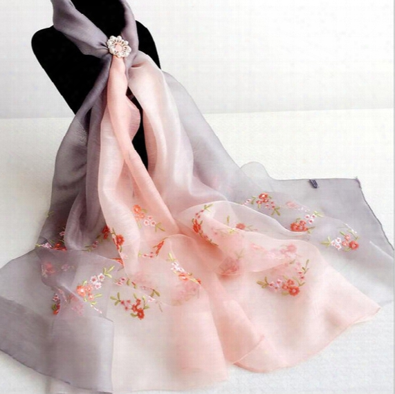 200cm*83cm Gradient Color 50% Silk And 50% Wool Scarf Embroidery Long And Soft