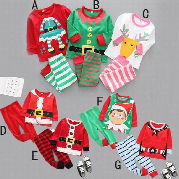 2017 Newest Autumn Kids Christmas Pajamas Boys Girls 2 Pieces Xmas Cartoon Pajama Set Kids Pyjamas Children Clothing