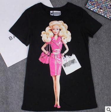 2017 Summer Women Barbie T-shirt Tops Casual Short Sleeve Cartoon Barbie Print Cotton Long T Shirt Femme Tee Tees Plus Size S~4xl