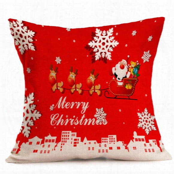 43*43cm Christmas Pillow Case High Qulity Linen Father Christmas Printed Decorative Cushion Cover Pillow Case Car Srat Pillowcase