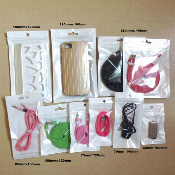 500pcs/lot 8*14cm Wholesale Clear+white Plastic Zipper Retail Package Bag For Data Cable Car Charger Cell Phone Accessories Packing Bag