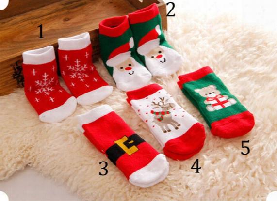 Baby Cartoon Christmas Socks 2015 New 1-3 Year Boy Girls Cartoon Socks 5 Color B001