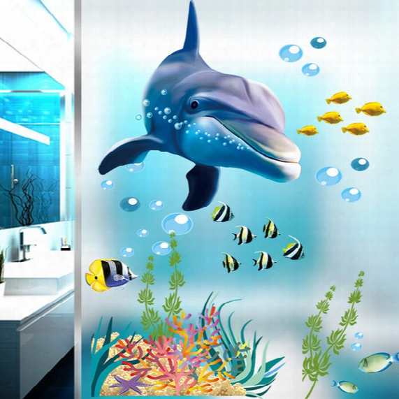 Cartoon Blue Dolphin Wall Stickers Diy Art Decal Removable Wallpaper Mural Sticker For Kids Room Kindergarten