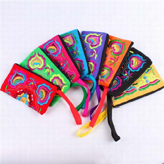 Chinese Ethnic Embroidery Women's Handmade Long Purse Wallet Card Package Coin Bag Embroidered Wallet Embroidery Bag Package