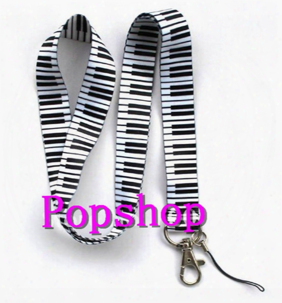 Free Shipping 20pcs White Music Piano Pattern Popular Mobile Phone Card Lanyard Neck Straps Gifts