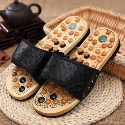 Free Shipping Log Jade Soles Of The Feet Massage Slippers Acupressure Men And Women Home Summer Foot Health Care Slippers