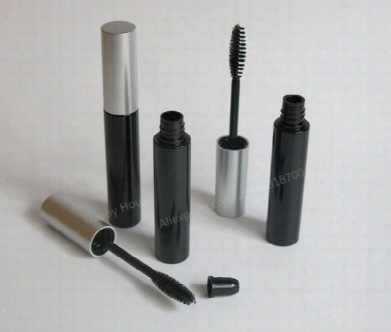 Free Shipping - Promotion 30pcs/lot 10ml Black Mascara Tube With Silver Top,10cc Cosmetic Tube, Eyelash Growth Liquid Tube