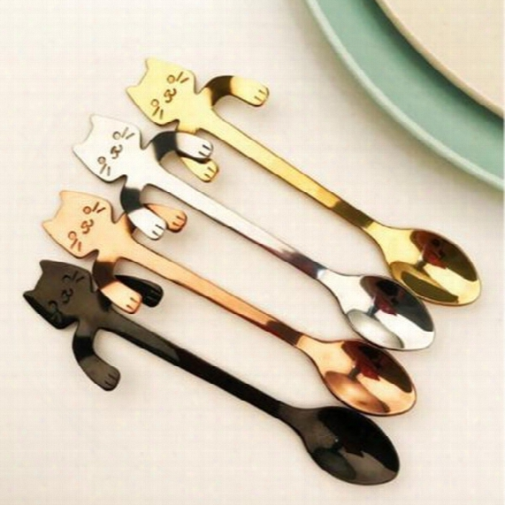 Hot Cute Cartoon Cat Stainless Steel Tea Coffee Kids Feeding Spoon Ice Cream Tableware Baby Xmas Gift