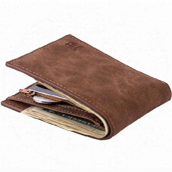 Hot Sale Baborry Fashion New Men's Wallets Carteira Brown Color Quality 2 Fold Open Id Credit Card Holder Zipper Pocket Coin Purse Wallet