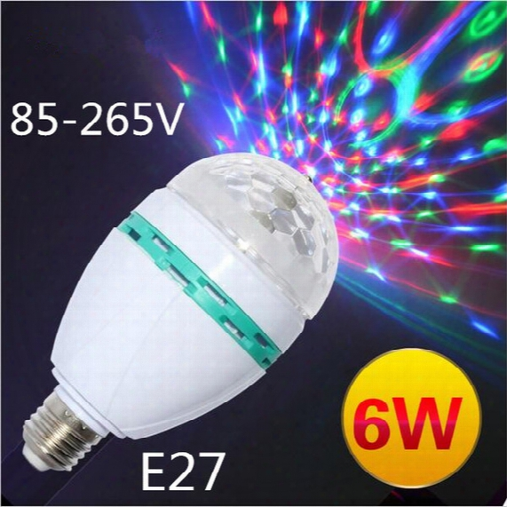 Hot Style E27 6w Ac85-265v Led Bulb Lamp Colourful Rgb Spot Light Auto Rotating Lighting For Ktv/bar/disco Decor Lighting