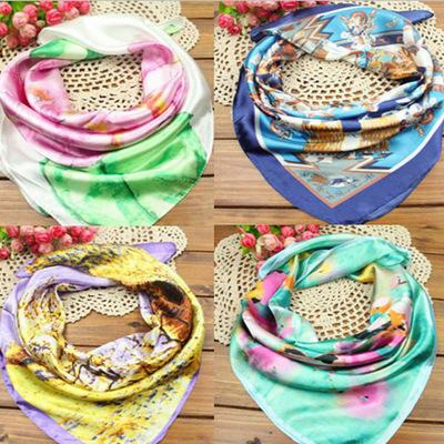 In Stock New Brand Fashion Women Small Square Satin Scarf Printed 60*60cm Spring/autumn Chinese Silk Scarves Cheap Wraps Business Scarf