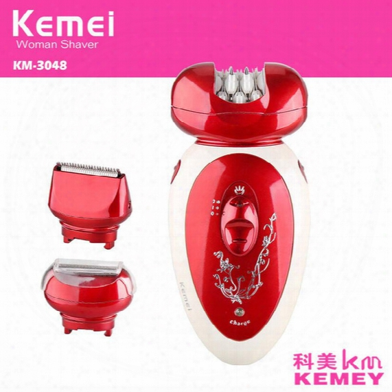 Sale 3 In 1 Electric Epilator Rechargeable Multifunctional Women Shaver Hair Removal Foot Care Tool Battery Power Shaver Km3048