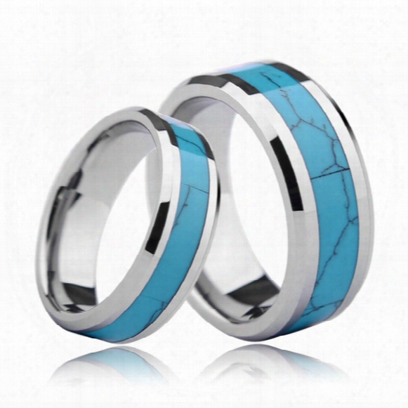 Shardon 6mm 8mm Beveled Tungsten Carbide Wedding Bands With Turquoise Inlay For Men & Women Jewelry Ring