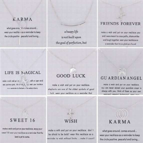 Silver Dogeared Necklaces With Card For Women Elephant Unicorn Love Pendant Statement Jewelrybulk Price