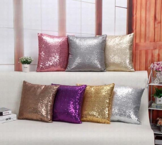 Solid Color Glitter Sequins Throw Pillow Decorative Case Home Car Comfortable Decor Waist Cushion Cover Pillow Case