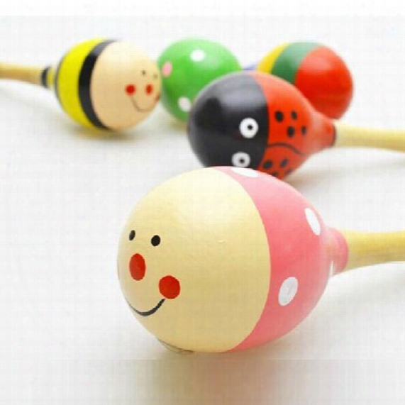 Wholesale- 2pcs/lot Cartoon Baby Rattle Wood Maracas Toys For Baby Children Educational Music Kids Infant Jugetes Toys For Baby 0 12 Months