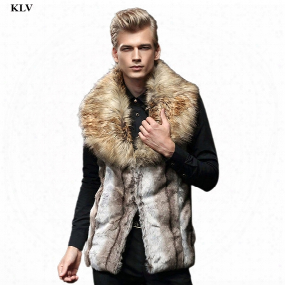 Wholesale- Luxury Men Faux Fur Sleeveless Vest England Style Male Winter Warm Jacket Fur Collar Cardigan Coat Boy Long Waistcoat Gilet Dec6
