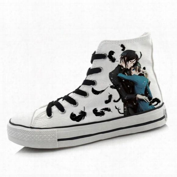 Wholesale-men Women Anime Black Butler Hand Painted Canvas Shoes High-top Boys Girls Graffiti Cartoon Shoes Cosplay Flat Shoe