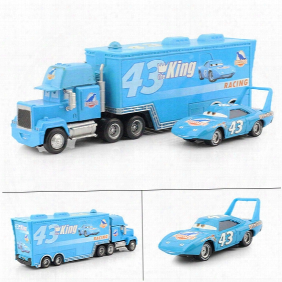 Wholesale-pixar Cars 2 Diecast The King Hauler Mack Cars Plastic Truck+no.43 Small King Racing Toys For Children Free Shipping 2pcs/lot