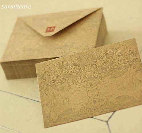 045/3 - 200pcs/lot Quality Brown Paper Greeting Cards Paper Bag Exqu1site Brown Paper Envelopes Vintage Style Kraft Envelope