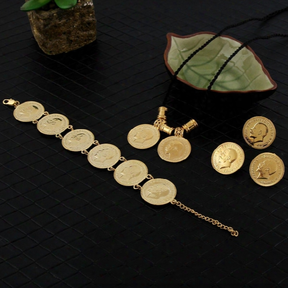 14k Yellow Real Solid Gold Gf Coin Jewelry Sets Ethiopian Portrait Coin Set Necklace Pendant Earrings Ring Bracelet Size Black Rope Chain