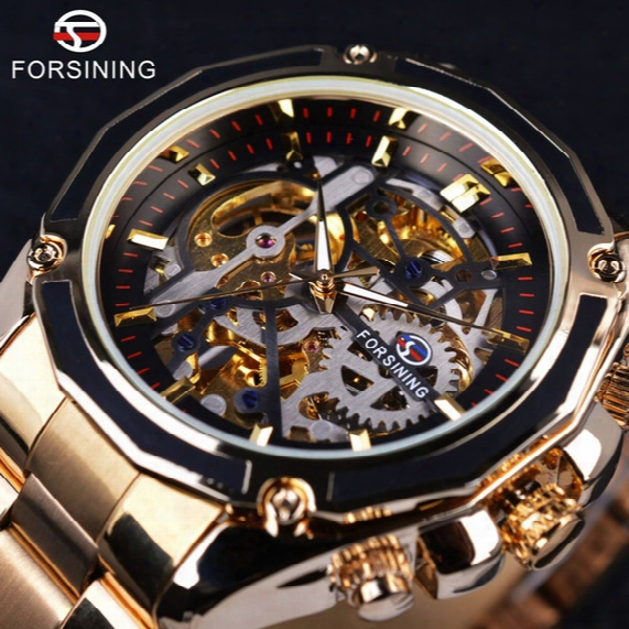 Forsining 2017 New Collection Transparent Case Golden Stainless Steel Skeleton Luxury Design Men Watch Top Branda Utomatic Watch
