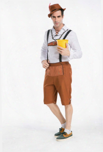 Men's Oktoberfest Lederhosen With Suspenders Costume For Man Role Play,stage Costuming Mardi Gras Carnival Party Size S M L Xl Xxl