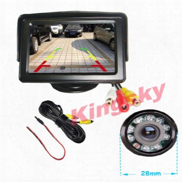 """New 4.3"""" Car Lcd Monitor + 9 Ir Led Day/night Reversing Car Rear View Backup Camera Kit"""