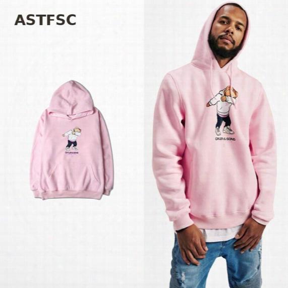 New Arrive 2017 European And American Tide Hoodies Cartoon Bear Punk Drake Pink And Khaki Fashion Sweatshirt Skateboard Kanye