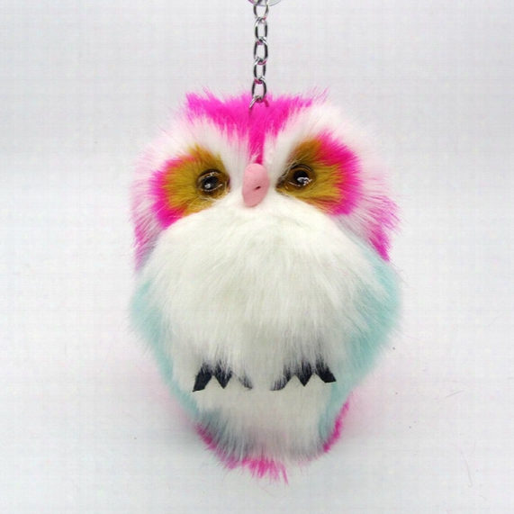 New Fashion 15cm Faux Rabbit Fur Pom Pom Owl Key Chain Women Bag Charms Keychain Female Car Key Ring Jewelry Trinket Man Keyring