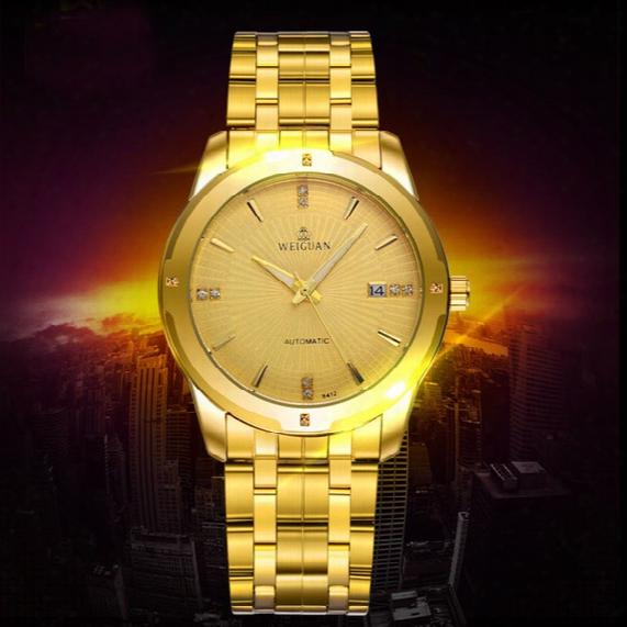 Weiguan Luxury Automatic Stainless Steel Skeleton Mechanical Watches For Man Gold Wrist Watch Mens Business Watch Waterproof Sport Watch