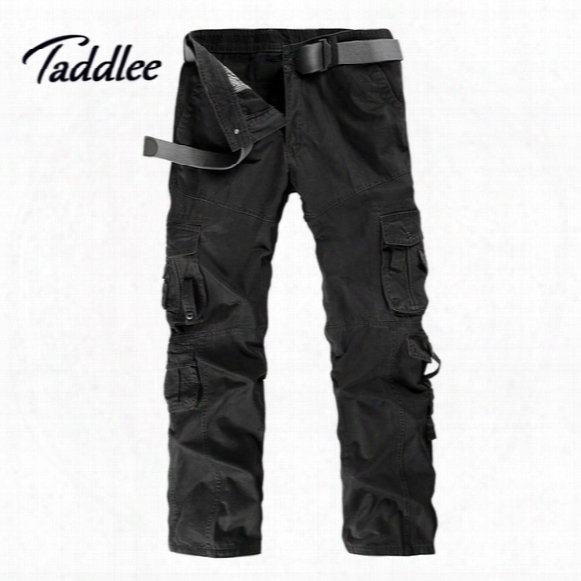 Wholesale-men Man Cotton Combat Multi-pockets Khaki Casual Loose Long Full Length Cargo Pants Mens Work Trousers Camouflage Large Size