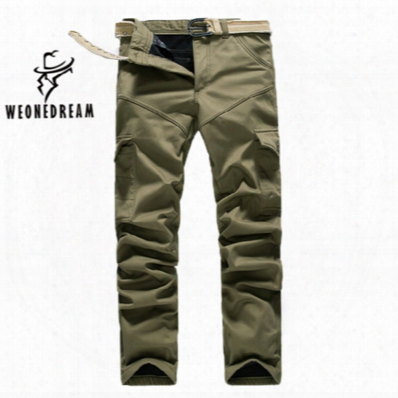 Wholesale-weonedream Hot Sale! Plus Size Mens Pure Cotton Cargo Pants Leisure Trousers Add Wool Warm Winter Leisure Trousers