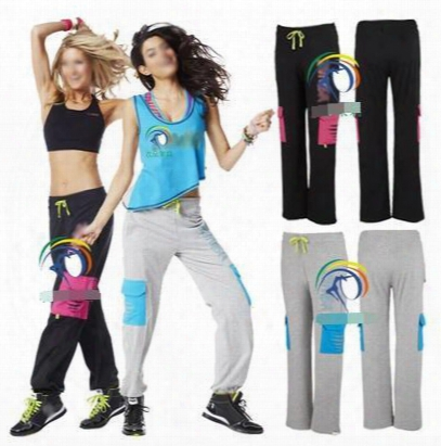 Woman Bottoms Cargos Slash O-jammin Pants Dance Pants Fitness Dance Pants Black/grey Free Shipping
