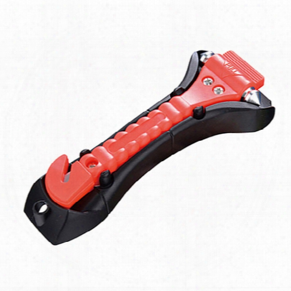 2 In 1 Car Safety Antiskid Hammer Seatbelt Cutter Emergency Class/window Punch Breaker Auto Rescue Disaster Escape Life-saving Hammer Tool