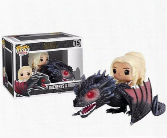 20151031 Anime Game Of Thrones Funko Pop Of Dragon & Daenerys Rides Dragon Action Figures Children Gift Hot Sell