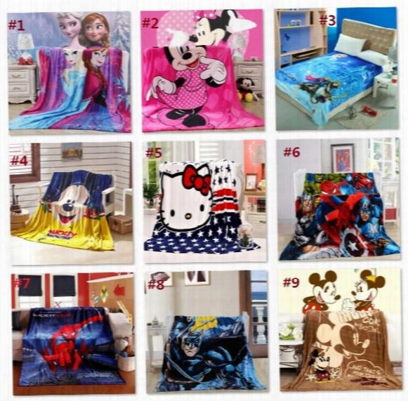 41 Designs 1.5*2m Kids Blankets Spider-man Frozen Cartoon Blankets Sofia Kitty Flannel Blankets Baby Beddings Swaddling Blanket B1454-1