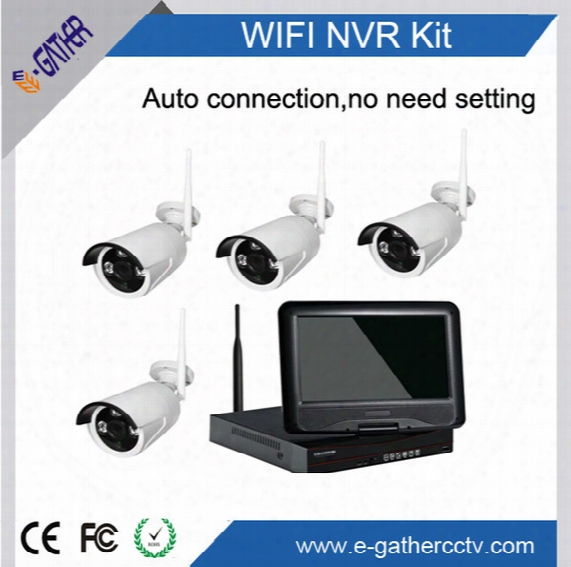 960p 4ch Wifi Security Kit With 10 Inch Monitor H.264 Wireless Surveillance Camera System Easy Installation Auto Connection No Need Setiing