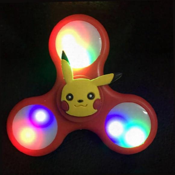 Cartoon Colors Crystal Led Flash Of Light Hand Spinner Tri-spinner Anti Stress Sensory Fidget Spinner Ball For Adult Children Toys Gift