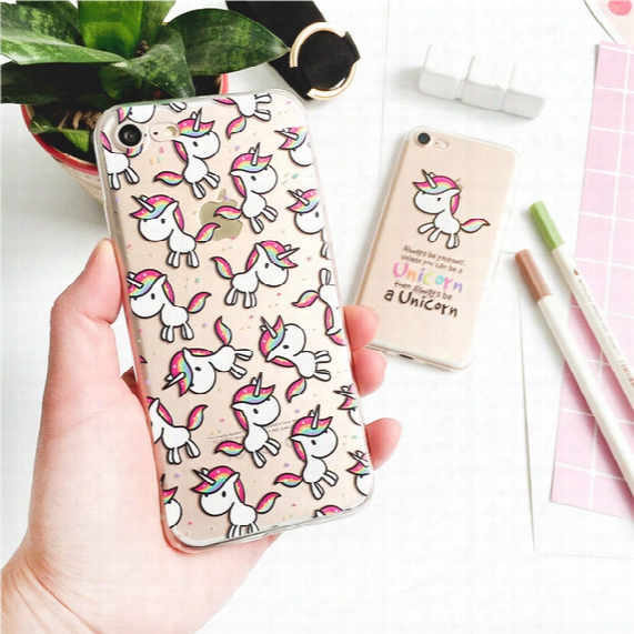 Cute Cartoon Unicorn Tpu Painted Cell Phone Case For Iphone 5s 6s 7 Plus Case Ultra Thin Transparent Soft Silicone Back Cover Shell