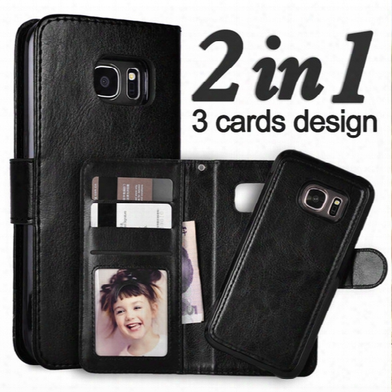 For Galaxy S8 Plus 2 In 1 Datachable Magnetic Wallet Leather Case Card Slots Cover For Galaxy S7 S6 Edge S5