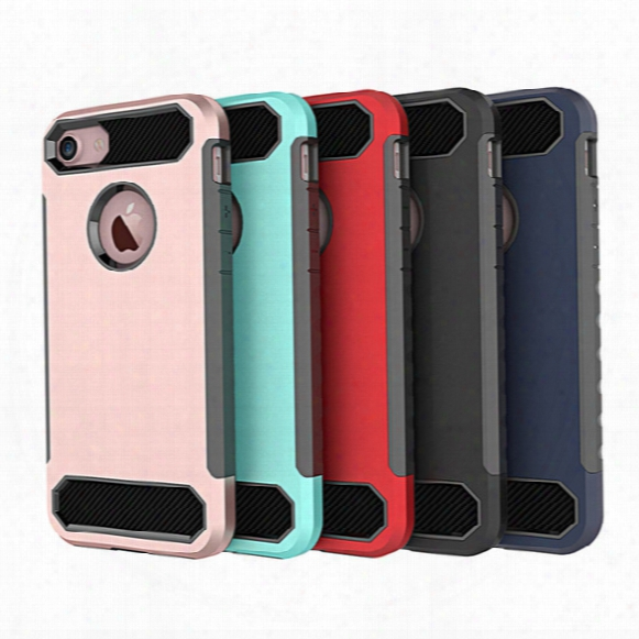 For Iphone 7plus Case 2in1 Hybird Carbon Fiber Soft Tpu Shockproof Back Cover Case For Iphone 7 7plus